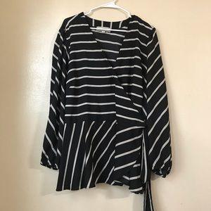 Loft plus black striped wrap top blouse
